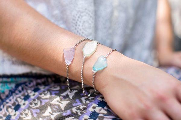 DIY SEA GLASS BRACELET + EARRINGS