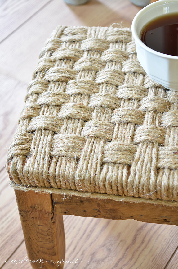 twine woven footstool