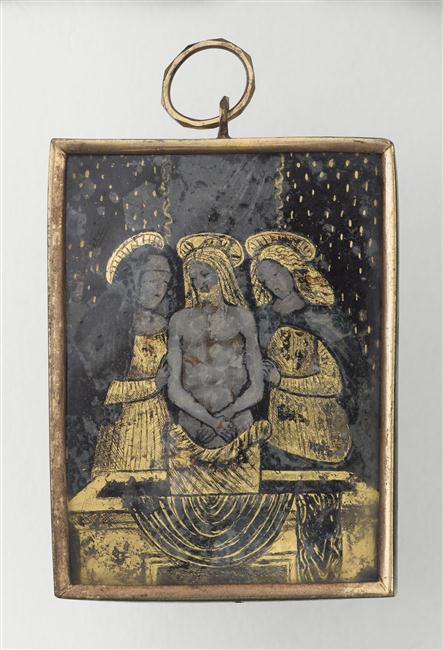 Verre églomisé : Christ au tombeau
