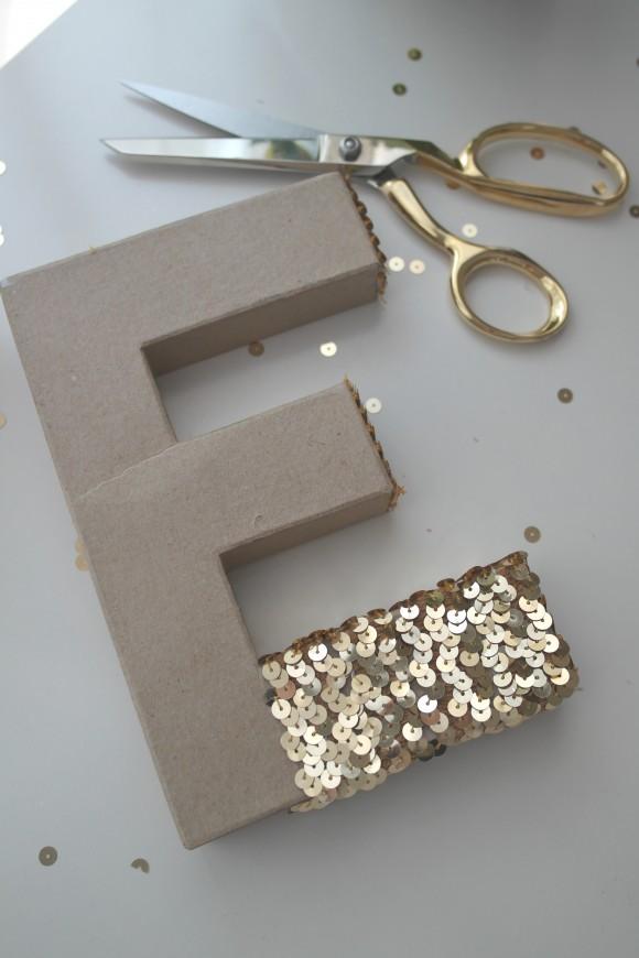 Sequin Monogram Letter DIY BY JILLIAN LESLIE via Catch my party