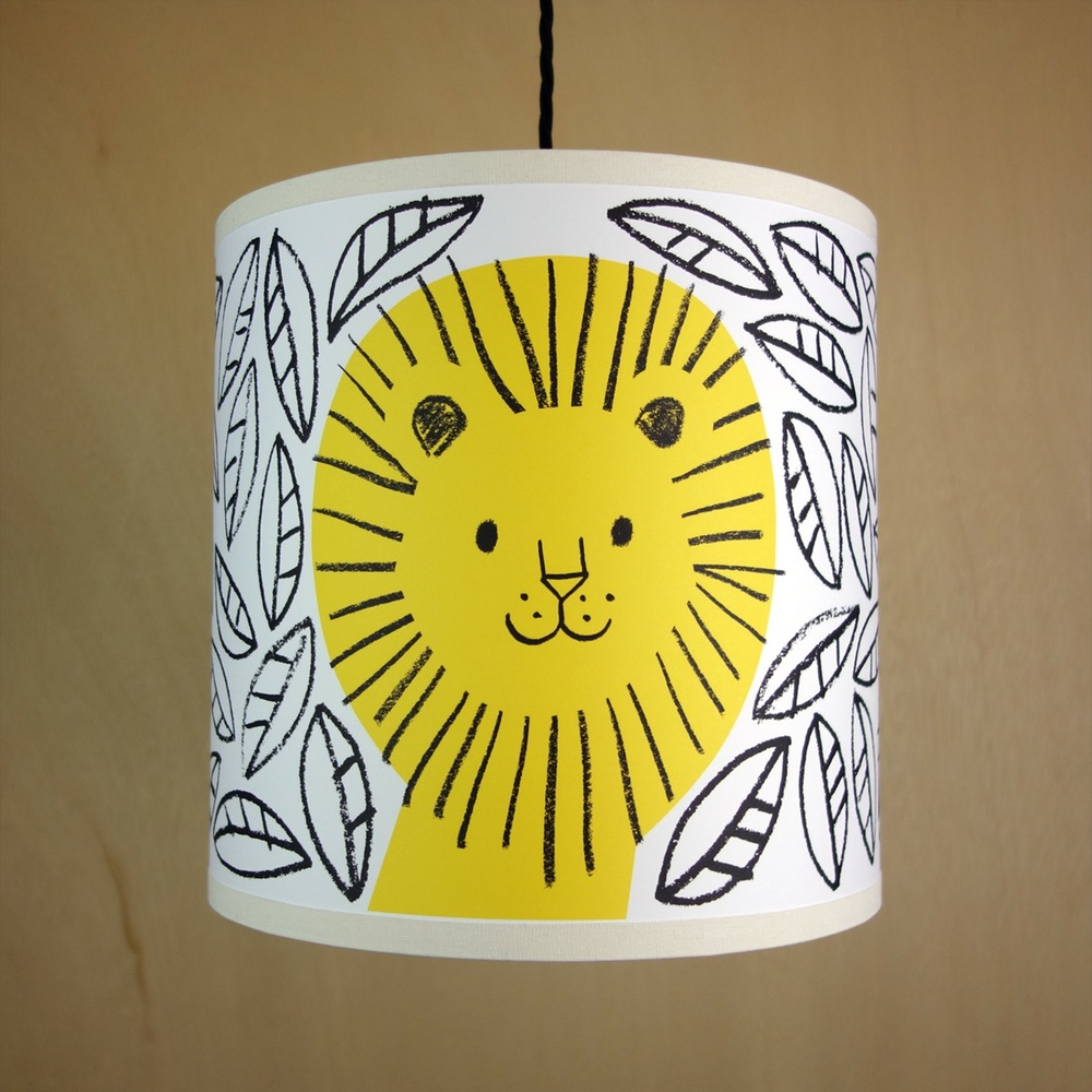 lisa-jones-studio_illustrated-lion-drum-lampshade