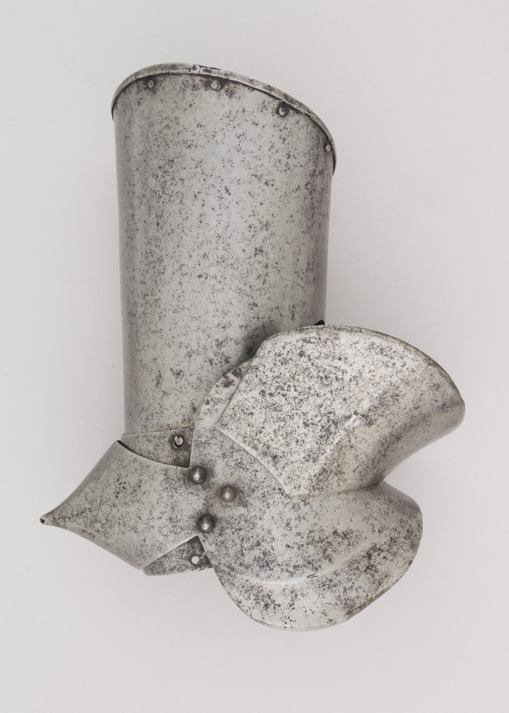 Upper Right Arm Defense (Vambrace) and Elbow Defense (Couter), ca. 1450–60 Italian, Milan, Steel; H. 12 1/4 in. (31.1 cm); W. 4 3/4 in. (12.1 cm); D. 10 in. (25.4 cm); Wt. 35.3 oz. (1000.7 g) The Metropolitan Museum of Art, New York, Bashford Dean Memorial Collection, Bequest of Bashford Dean, 1928 (29.150.7g) http://www.metmuseum.org/Collections/search-the-collections/35849