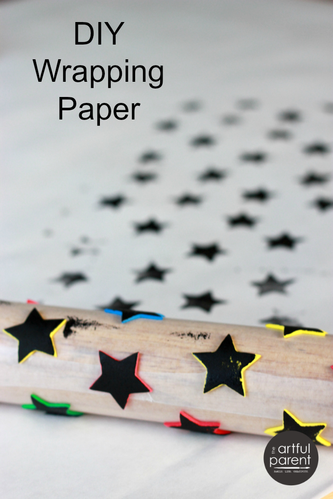 Handmade-Wrapping-Paper-with-Foam-Stickers