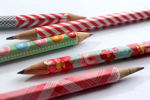 washi tape pencils diy