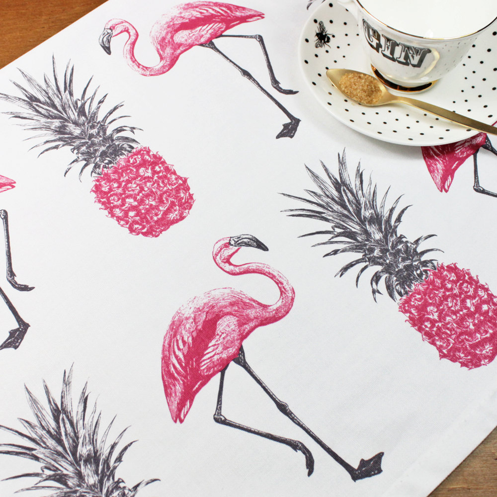 Flamingos and Pineapples Tea Towel-yvonneellen
