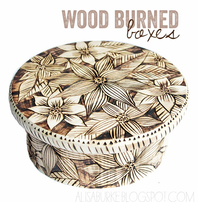 wood burned boxes