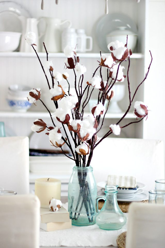 faux-cotton-branch-centerpiece