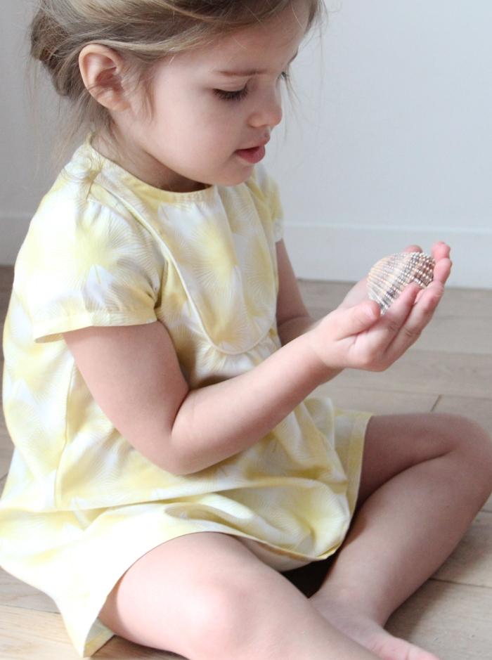 robe-fille-bebe-fillette-ete-france-coton-jaune-palmier