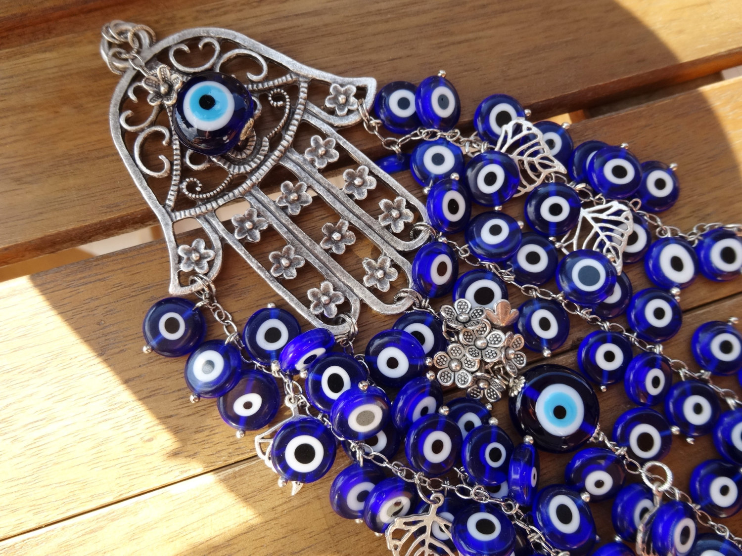 Turquoise Evil Eye Beaded Silver Hamsa Wallhanging // Cocolocca