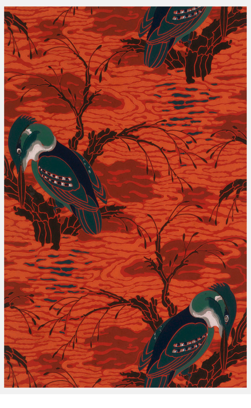 Sidewall Sample (France), 1929–30; Designed by Emile-Allain Seguy (French, 1890 - 1985); machine printed on paper; Overall: 72.5 x 46.5 cm (28 9/16 x 18 5/16 in.); Museum purchase from General Acquisitions Endowment and Friends of Wallcoverings Funds; 2001-14-31