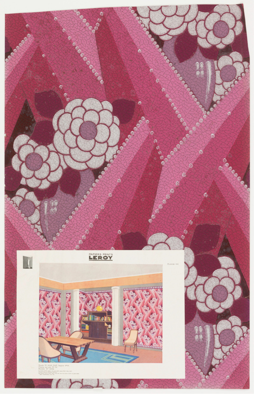 Sidewall Sample (France), ca. 1930; Produced by Isidore Leroy Company ; machine-printed; Overall: 73.5 x 46.5 cm (28 15/16 x 18 5/16 in.); Museum purchase from General Acquisitions Endowment and Friends of Wallcoverings Funds; 2001-14-41