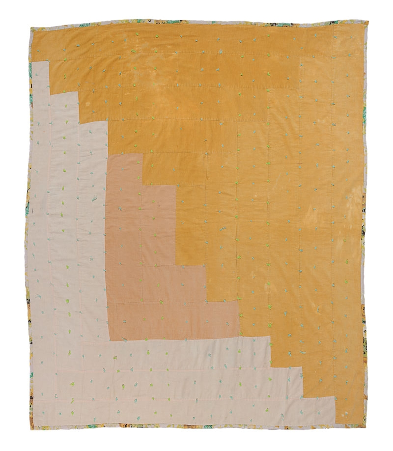 """Log Cabin""—Single-Block Variation, Tied With Yarn - Linda Pettway c. 1975 Corduroy 88 x 78 inches Collection of: Souls Grown Deep Foundation"