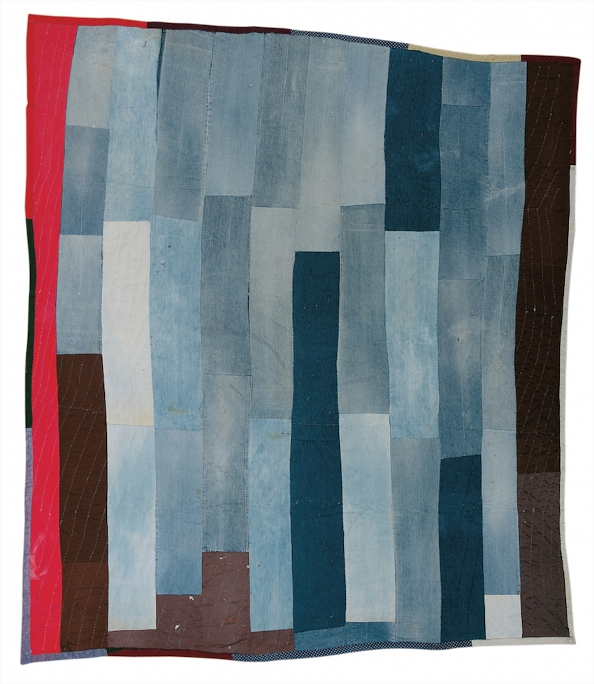"""Bars"" Work-Clothes Quilt - Loretta Pettway 1970s Cotton, denim, twill (pants legs) 88 x 85 inches"