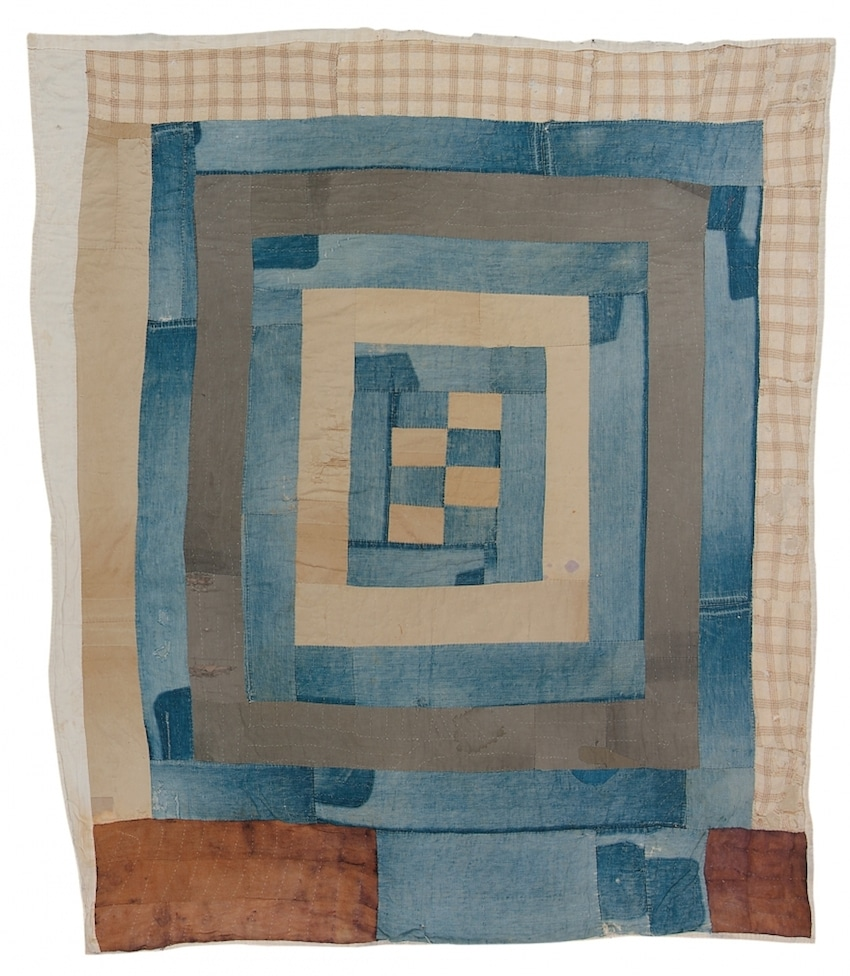 """Housetop"" Variation—""Hog Pen"" - Nettie Young 1935 Cotton, denim, wool 81 x 72 inches Collection of Souls Grown Deep Foundation"