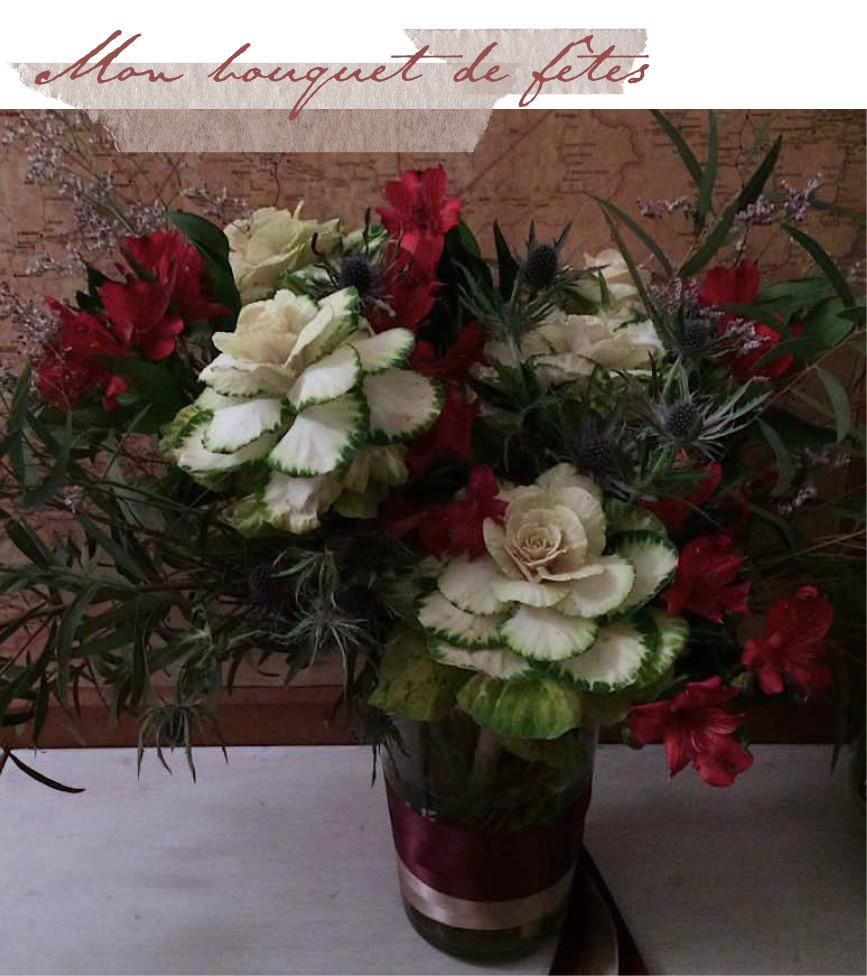 composition florale avec chardon, choux et alstroemeria { bouquet de