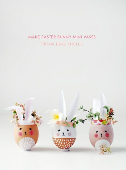 Make adorable Easter Bunny mini vases from eggshells // We are Scout