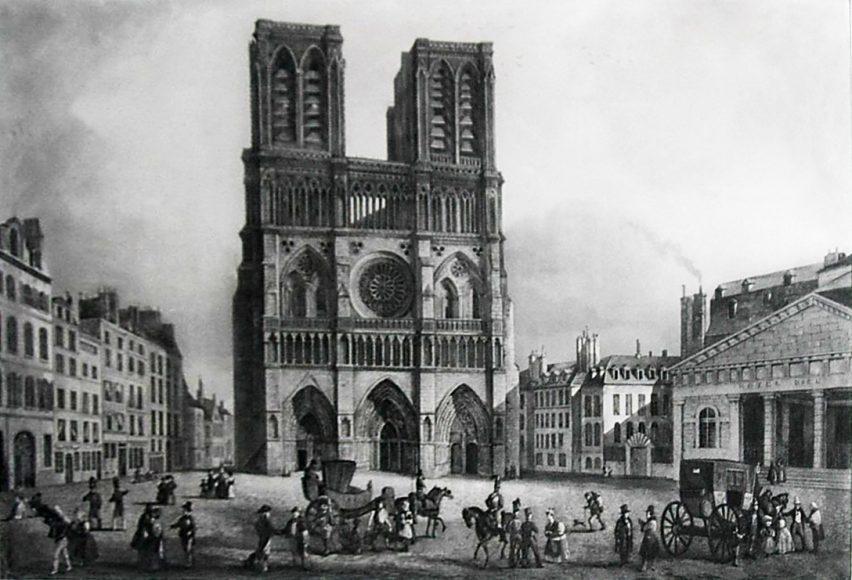 Notre Dame de Paris avec, à droite, l'ancien Hôtel-Dieu démoli par Haussmann